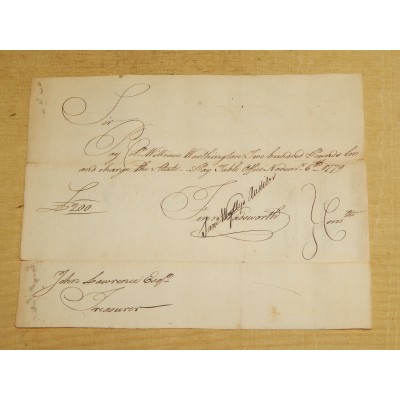 Revolutionary War Conn. Pay Order No 2543 c. 1779