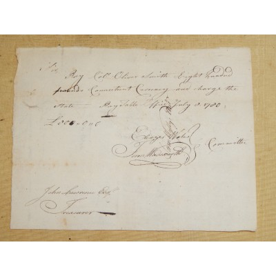Revolutionary War Pay Order Col Oliver Smith c. 1780