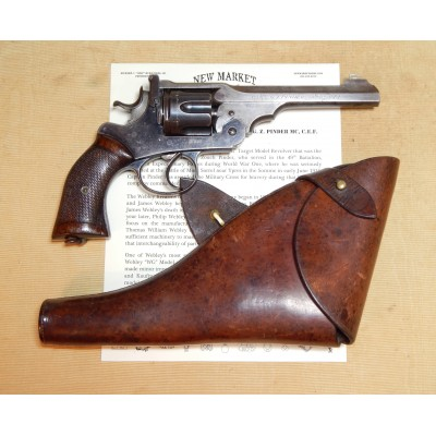 Historic WWI Webley Revolver IDd to Capt Pinder MC, CEF, WIA at Ypres